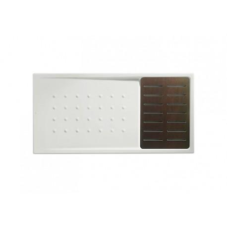Plato de ducha antideslizante con tarima wengué 1400x700 MALTA - ROCA