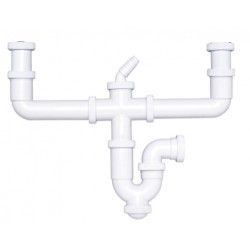 Sifón curvo extensible con salida horizontal, doble racor y toma de electrodomésticos - CREARPLAST