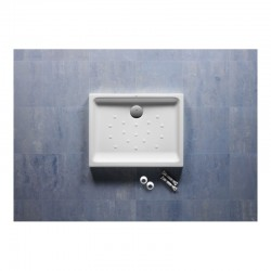 Plato de ducha de porcelana color pergamon con fondo antideslizante MALTA - ROCA