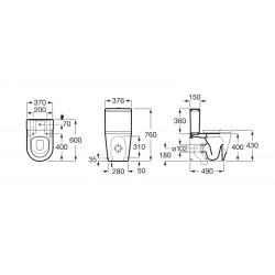 Inodoro compacto adosado con salida dual INSPIRA Round - ROCA