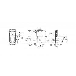 Taza de inodoro compacto adosado a pared con salida dual HALL - ROCA