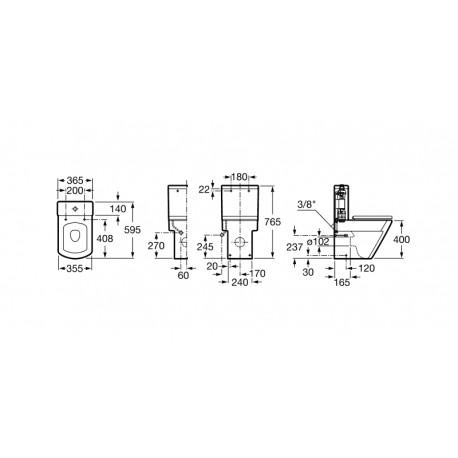 Inodoro compacto adosado a pared con salida dual HALL - ROCA