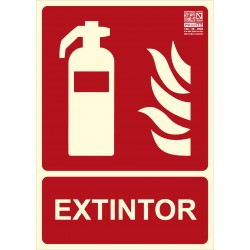 Placa señalización extintor CO2