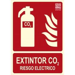 Placa de señalización para extintor CO2